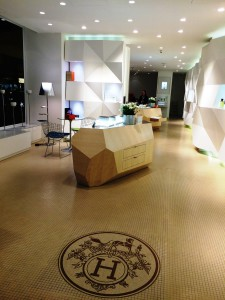 Inside of the Ephemeral Hermes boutique rue de Passy, Paris
