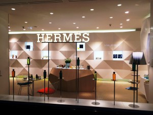 Outside window of the ephemeral Hermes Boutique rue de Passy in Paris