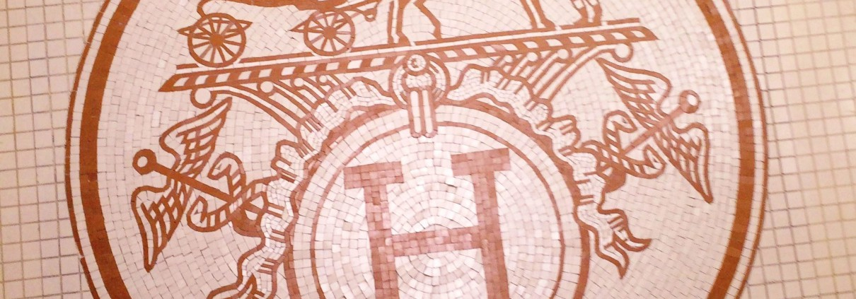 Hermès logo in mosaic on the floor of the Ephemeral boutique inside Franck&Fils - Paris